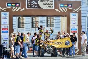 Daniel Mazzucco e seu Can-Am Renegade na rampa de chegada do Rally Dakar 2014 Crédito: David Santos Jr/Webventure