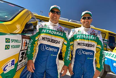 Carlos Sousa e Paulo Fiuza: foi a estreia da dupla pela Equipe - Foto:  Murilo Mattos/Mitsubishi