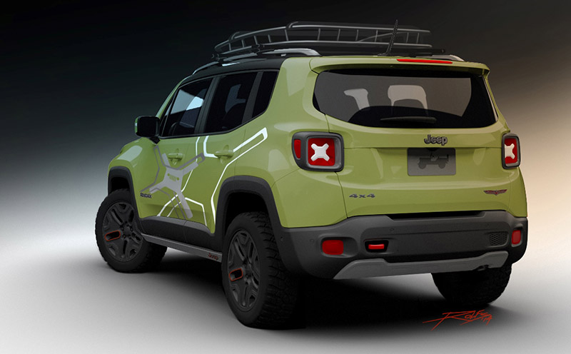 The Mopar display at the 2015 North American International Auto Show (NAIAS) in Detroit to feature an off-road Mopar-equipped Jeep® Renegade that makes the Trailhawk model of the Jeep brand's all-new small SUV even more trail tough using Jeep Performance Parts