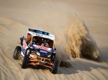 Chilenos Francisco Contardo e Alvaro Quintanilla, campeões do Rally Dakar 2019 com o UTV Can-Am Maverick X3. Crédito: Divulgação/Can-Am